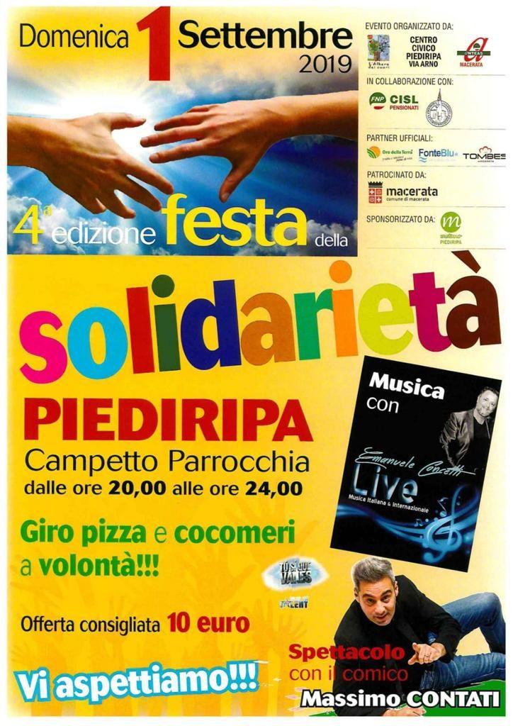 Locandina Festa della Solidarietà a Piediripa